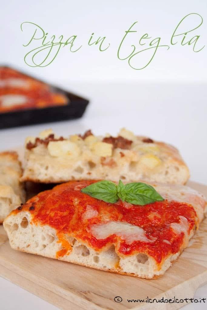 Ricetta Pizza Con Lievito Di Birra.Pizza In Teglia Con Pasta Madre O Lievito Di Birra Il Crudo E Il Cotto